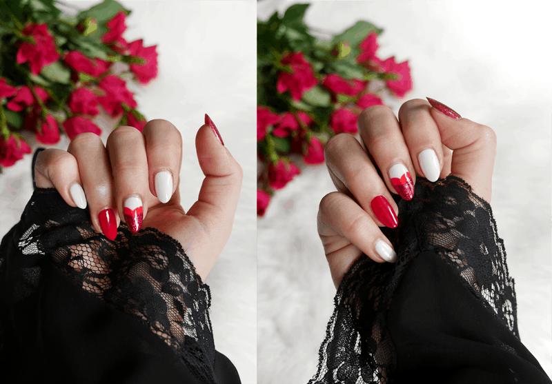 walentynkowy manicure, manicure Semilac