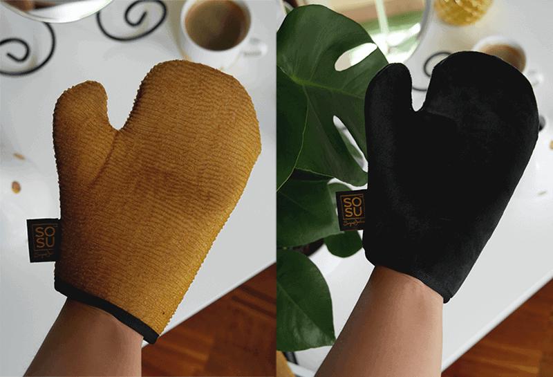 rękawica złuszczająca i samoopalająca sosu